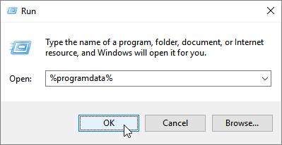 Run dialog with %programdata%