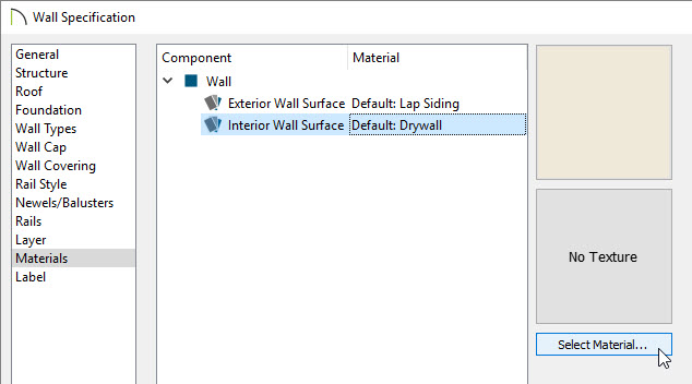 Wall Specification dialog on Materials panel with Interior Wall Surface selected