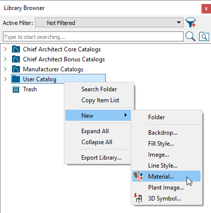 Creating a New Material in the User Catalog