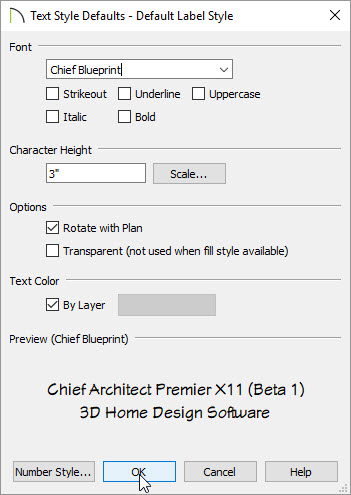 Text style default label style