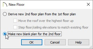 Choose the Make new blank plan for the 2nd floor option in the New Floor dialog