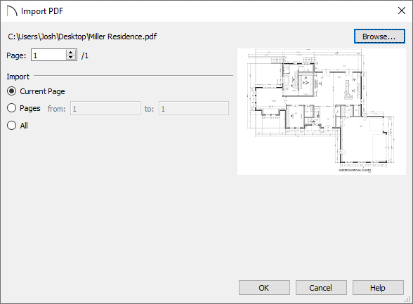 Import PDF dialog