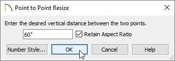 Point to Point Resize dialog