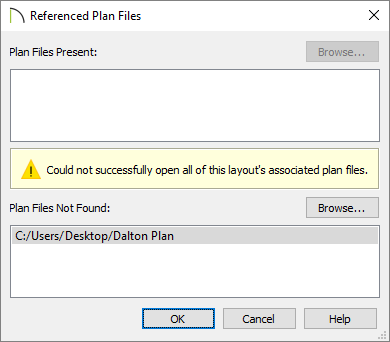 Referenced Plan Files dialog in Chief Architect.