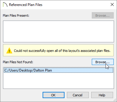 Browse for the missing file in the Referenced Plan Files dialog.