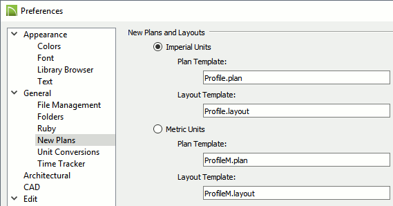 "The ""New Plans"" panel of the Preferences dialog."