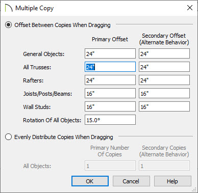 Multiple Copy dialog
