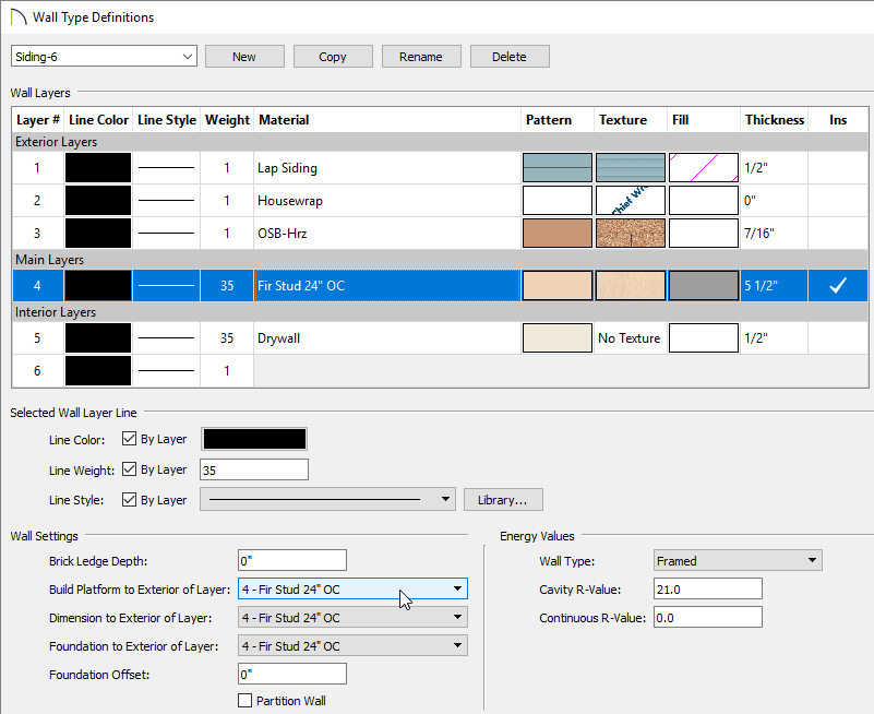 Wall Type Definitions dialog main layer