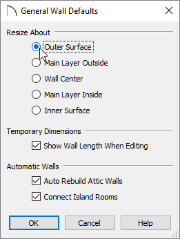 Choosing the Outer Surface resize about option in the General Wall Defaults dialog