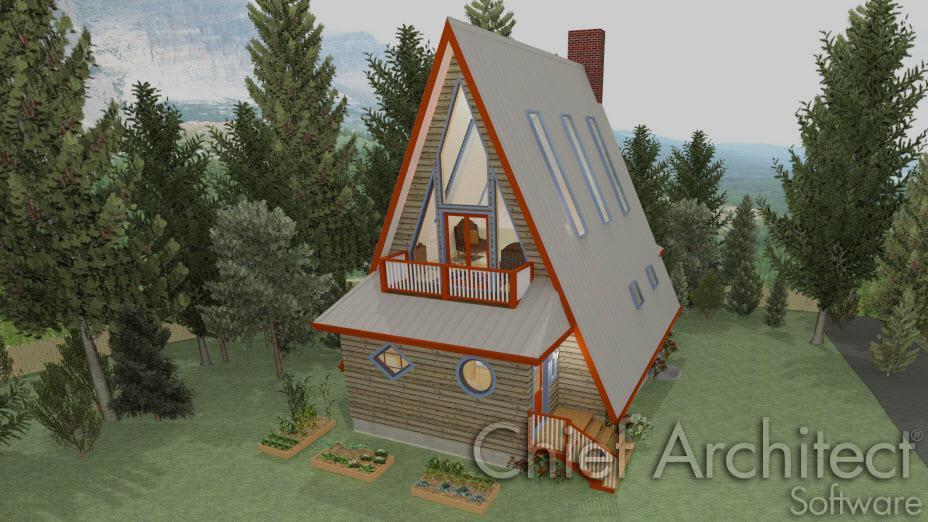 A-Frame house with angled windows