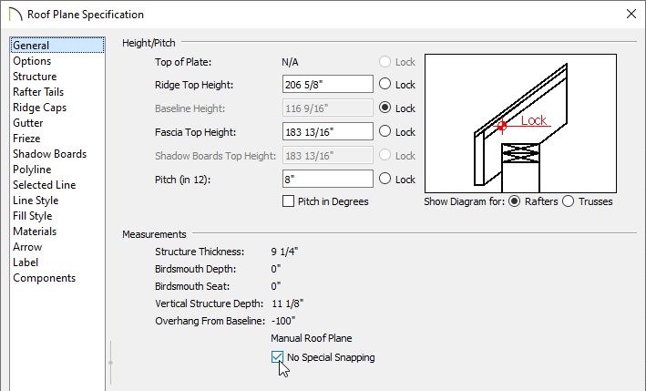 Checking No Special Snapping in the Roof Plane Specification dialog