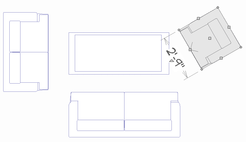 Floor Plan View showing four pieces of furniture with one chair selected