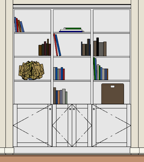 Objects placed in a bookcase