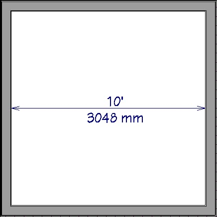 Floor plan view showing a dimension line with an imperial and metric measurement