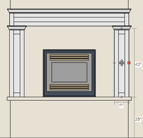 Placing mantel with columns