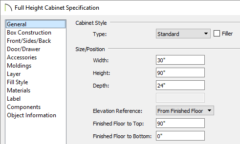 General panel of the Full Height Cabinet Specification dialog