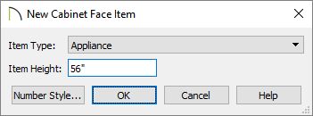 New Cabinet Face Item dialog where the Item Type and Item Height can be set