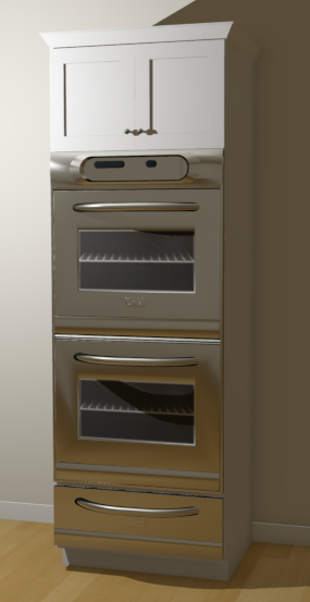 Perspective Full Camera view of a full height cabinet with a double wall oven