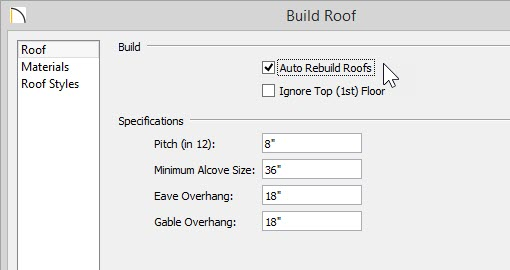 Build Roof dialog with Auto Rebuild Roofs selected