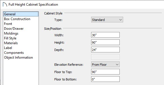 Set the Width, Height, and Depth of the full height cabinet