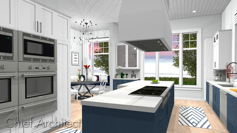 Kitchen with stacked appliances