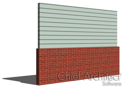 Pony Wall with siding on top and brick on bottom
