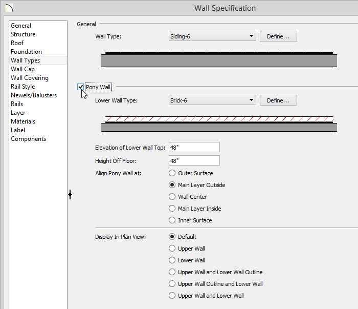 Wall Specification dialog, Wall Types panel with a checkmark in the Pony Wall box