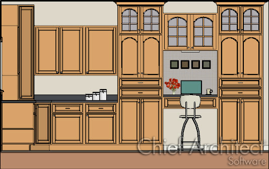 orthographic vector image of interior kitchen cabinets