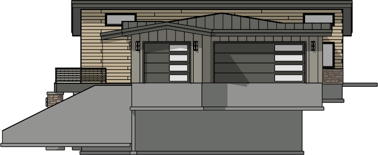 Elevation view of a structure displaying content from all floors
