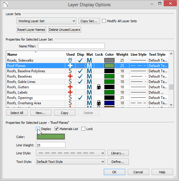 Layer Display Options dialog with Roof Planes layer deselected for Display