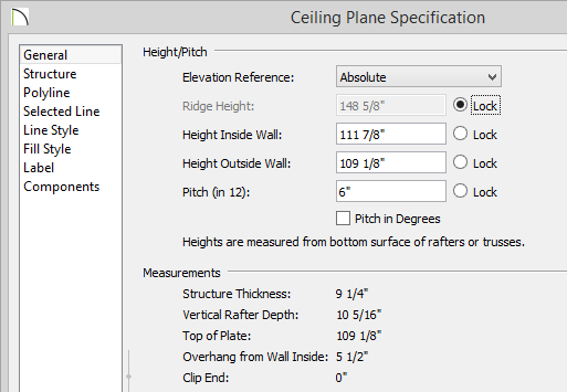 """Ceiling Plane Specification dialog showing 109 1/8"""" Height Outside Wall and 6"""" Pitch"""