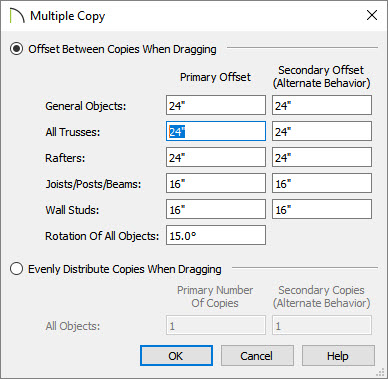 """Multiple Copy dialog showing 24"""" as the Primary Offset value for trusses"""