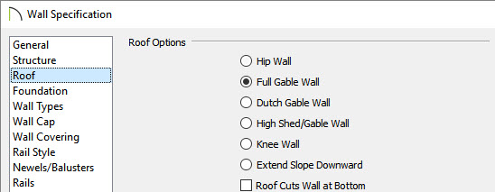 Roof panel of Wall Specification dialog showing Full Gable Wall selected