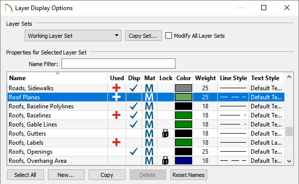 Layer display options