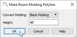Choose Blank Molding and specify how high you want the molding to be off the floor in the Make Room Molding Polyline dialog