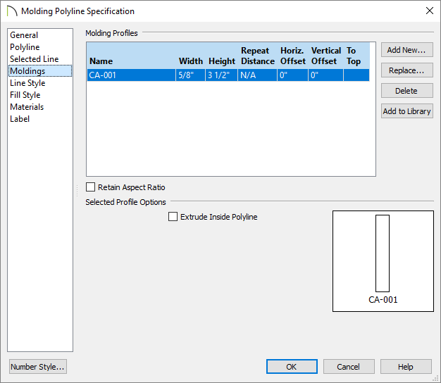 Molding added on the Moldings panel of the Molding Polyline Specification dialog