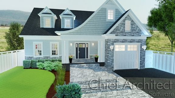 Chief Architect's home design software makes adding decorative cladding to the exterior of the model easy.