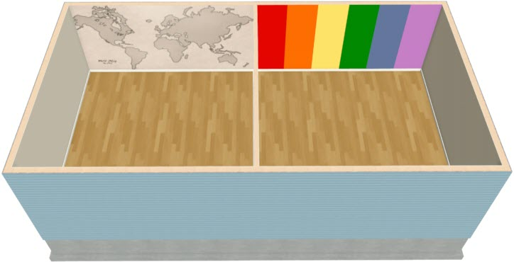 This dollhouse views shows how you can get a striped effect on your wall with materials.