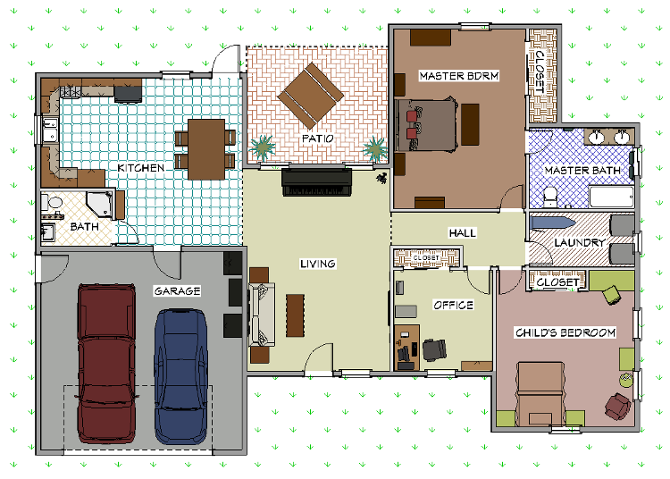 Floor plan with custom fill patterns and colors