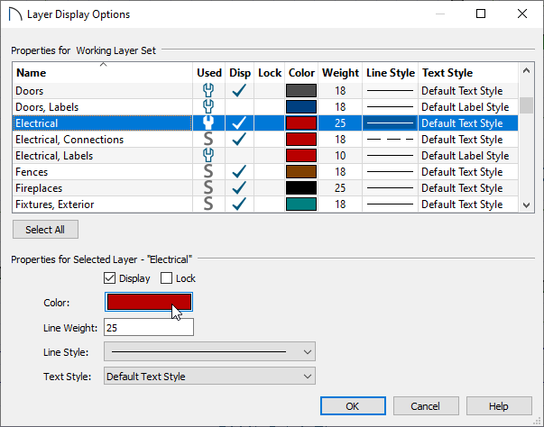 Layer Display Options dialog with Electrical layer highlighted and arrow over Color box
