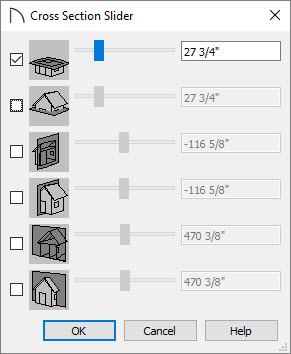 Cross Section Slider dialog with the top option selected