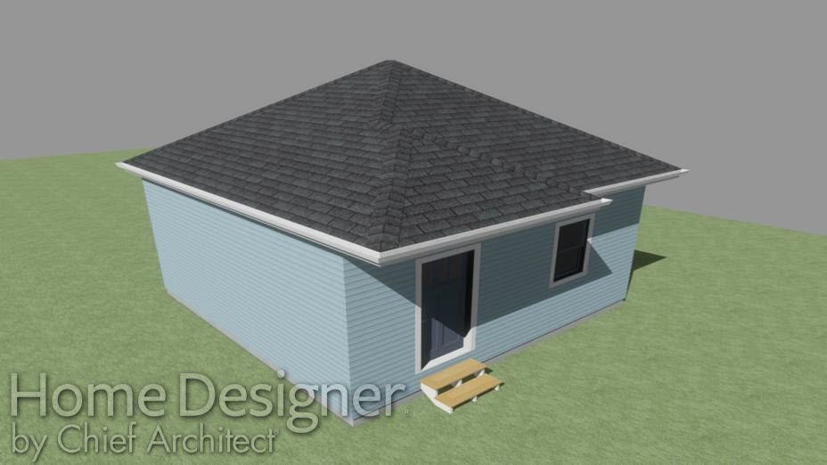 Camera view of house with extended roof over front door