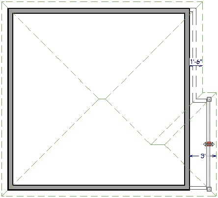 Floor plan view show wall being moved until the dimension value shows correct overhang value