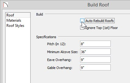 Build Roof dialog with Auto Rebuild Roofs deselected