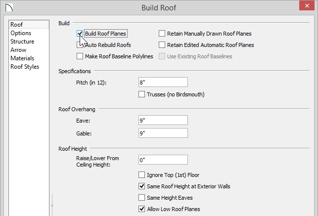 Build Roof dialog showing Build Roof Planes selected