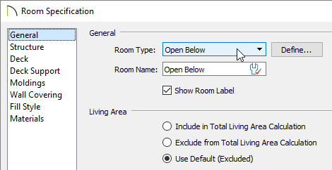 Open Below option chosen from the Room Type drop-down menu on the General panel of the Room Specification dialog.