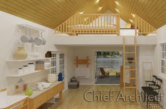 interior of small cabin with bedroom loft
