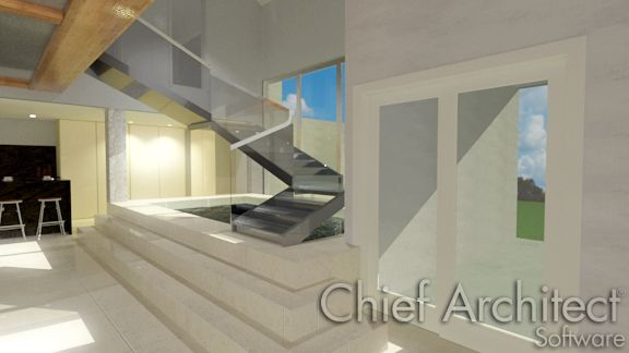 A staircase with a custom railing applied in Chief Architect.