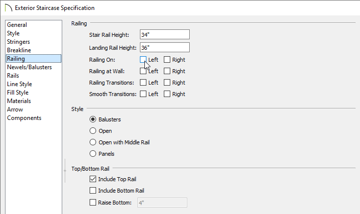 Railing panel of the Staircase Specification dialog