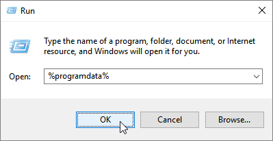 Run dialog with %programdata% in the Open line